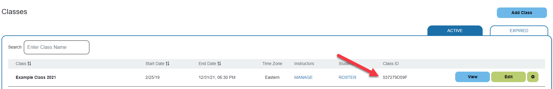 Screenshot of classes page with red arrow pointing to class ID