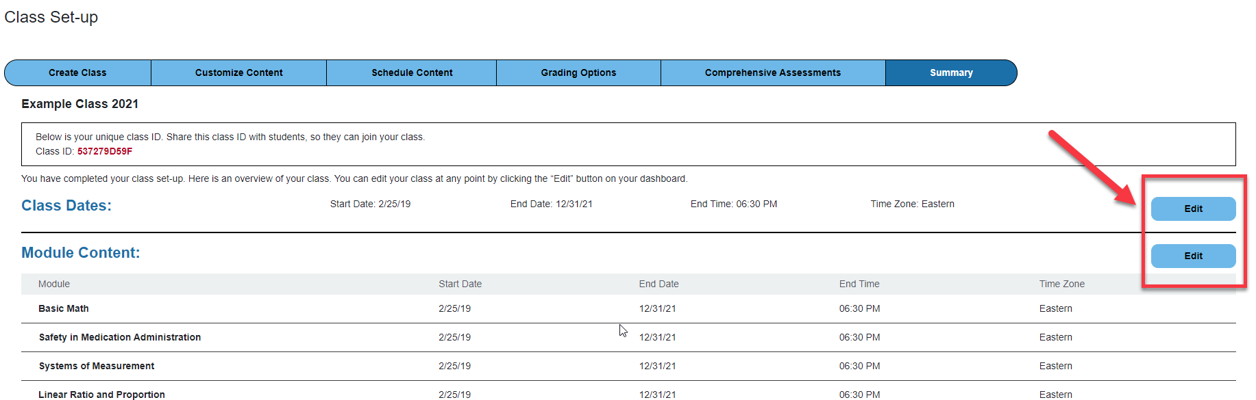 Screenshot of class summary page with edit boxes outlined and a red arrow pointing to the boxes