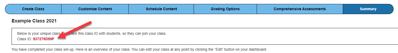 screenshot of class summary page with red arrow pointing to class ID