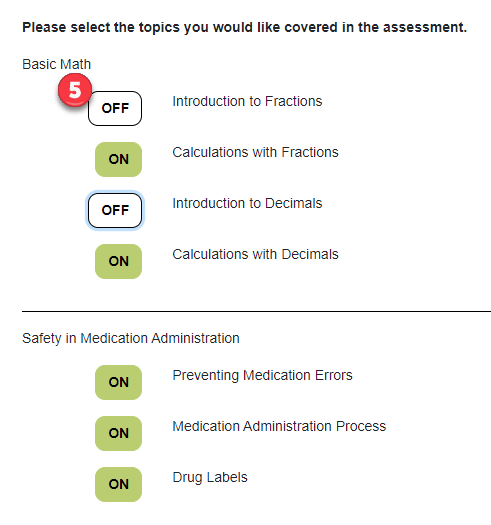 Screenshot of choices to include in the comprehensive assessment with some parts of modules turned off