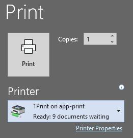 1 Print option on Windows