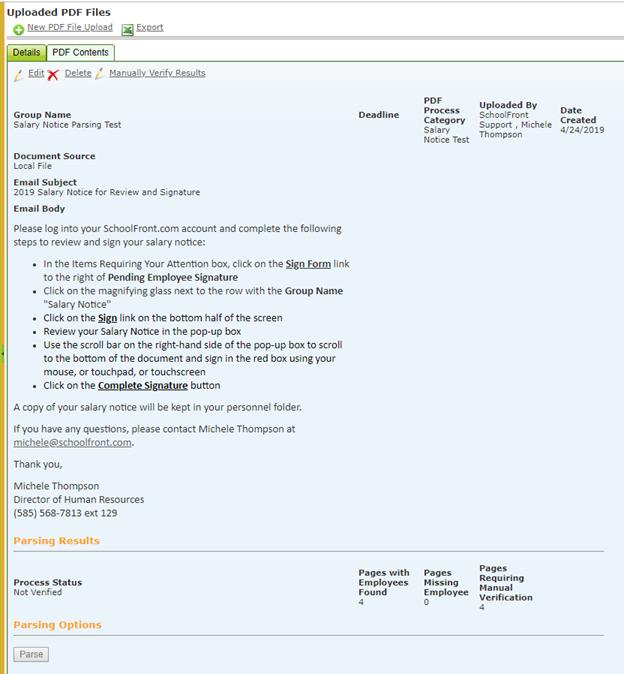 PDF Parsing Process - SchoolFront Platform