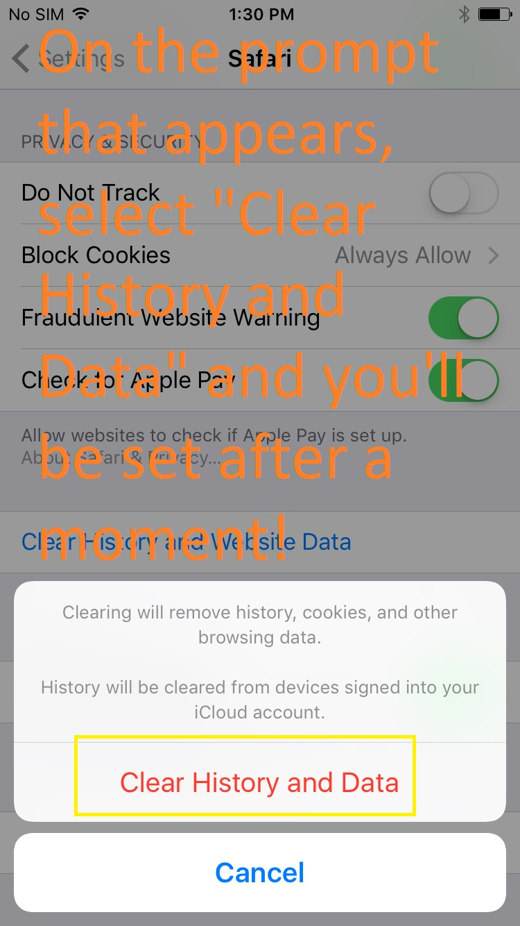 """White pop up at bottom of screen. """"Clear History and Data"""" is in red above a cancel button. Text: select and wait a moment."""