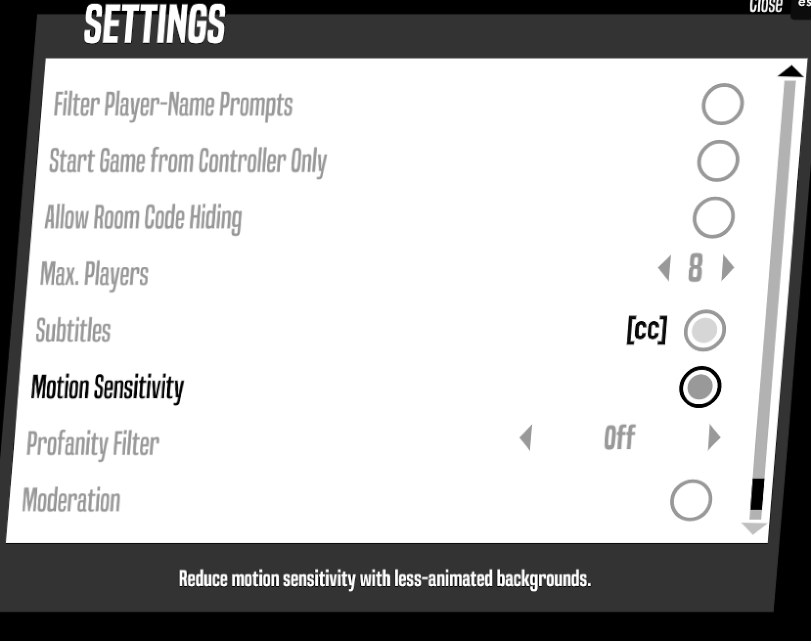 """A screenshot of the Champ'd Up settings menu. Motion sensitivity is the 6th option down, and is in darker text to indicate it is selected and toggled on. Description reads """"reduce motion sensitivity with less-animated backgrounds""""."""