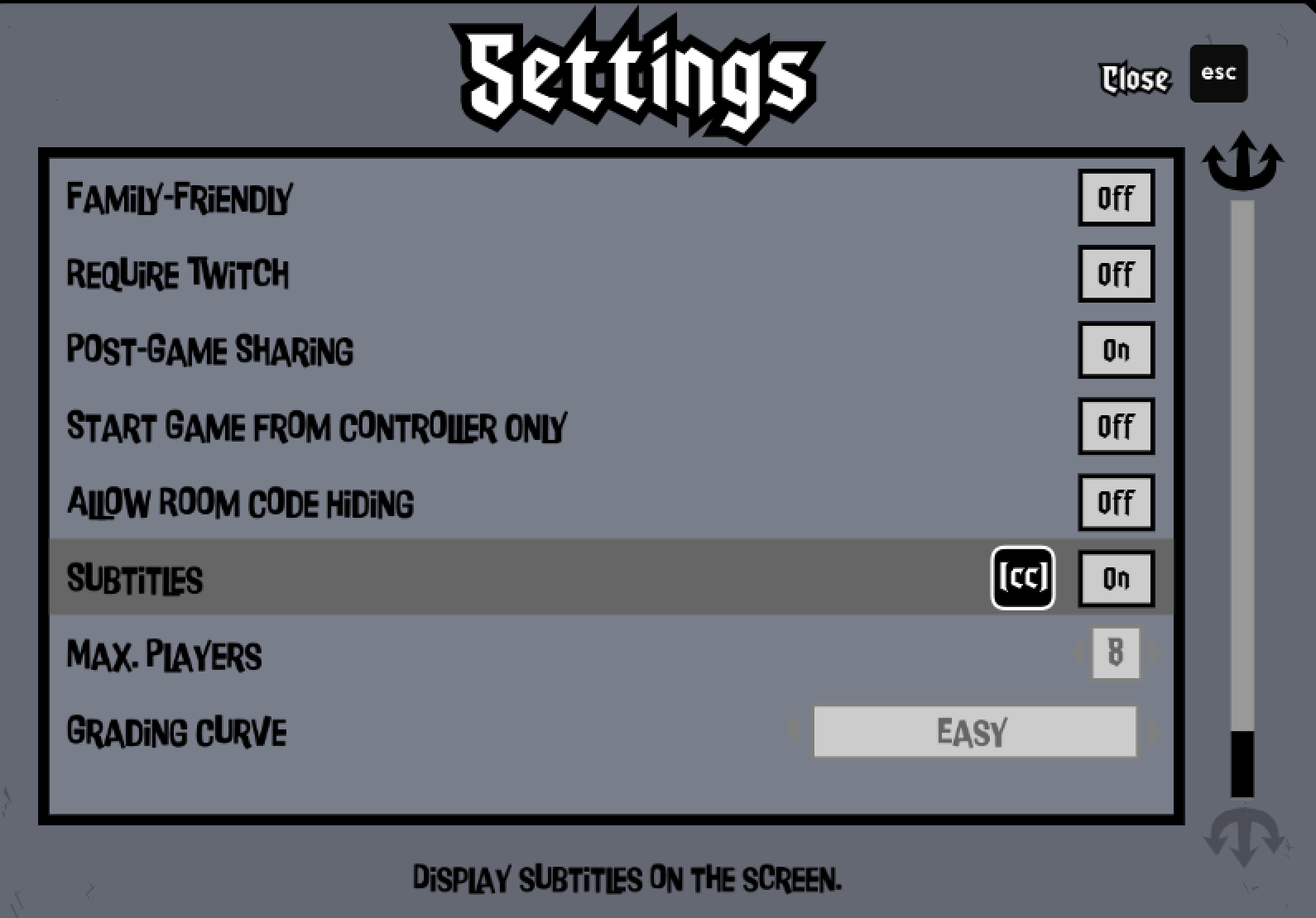 """Screencap of the Settings menu from The Devils and the Details. Subtitles are the 6th option down and are toggled to """"on""""."""