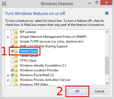 Select 'Telnet Client' from the list, then click 'OK'