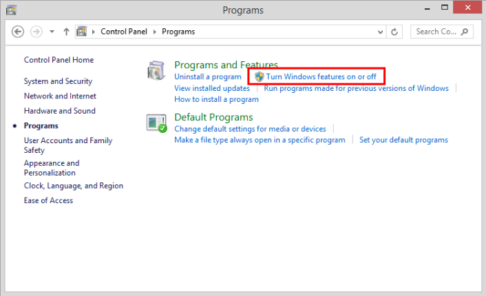 Click on 'Turn Windows features on or off'
