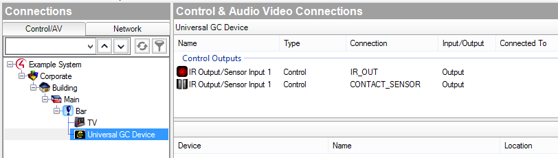 Control & Audio Video Connections