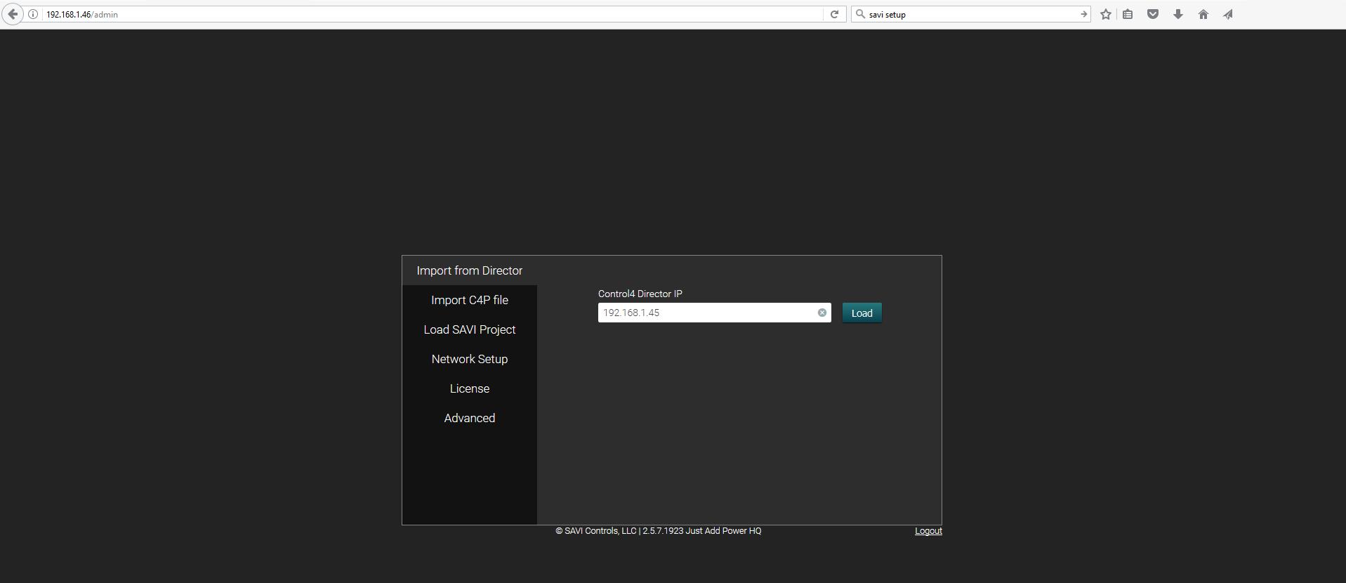 SAVI Admin - Main Page