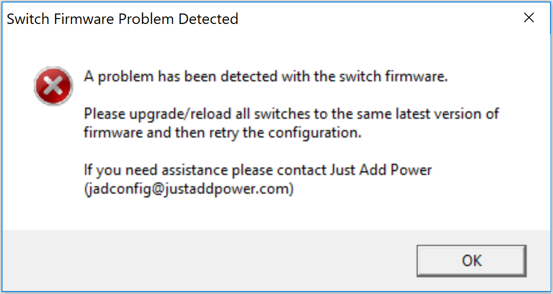 JADConfig Luxul firmware error