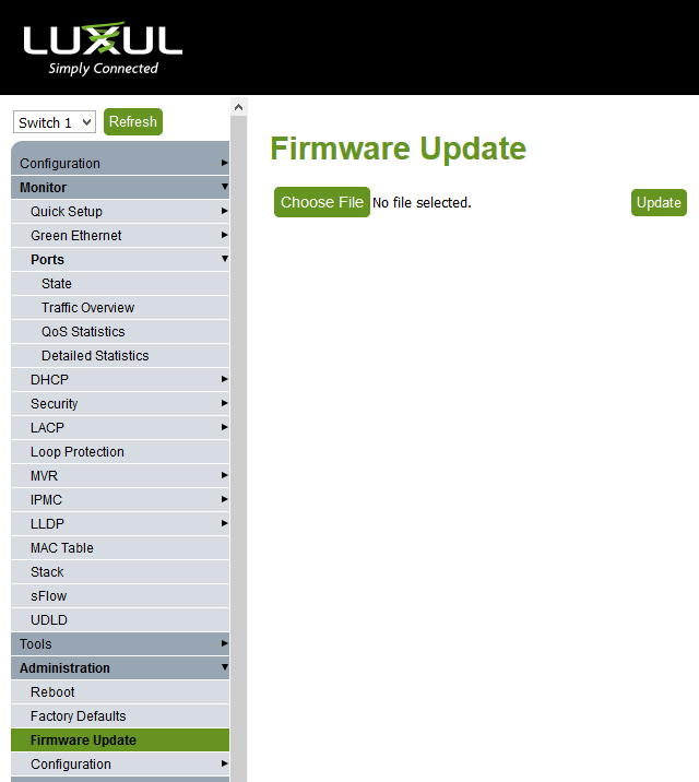 Luxul web page update firmware