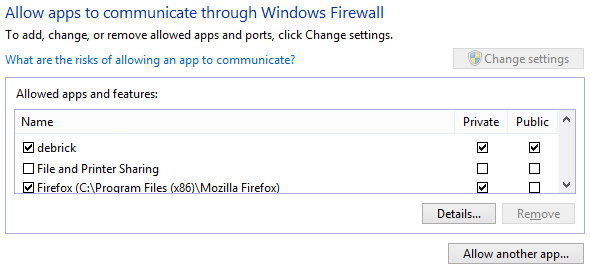 Allow app through firewall