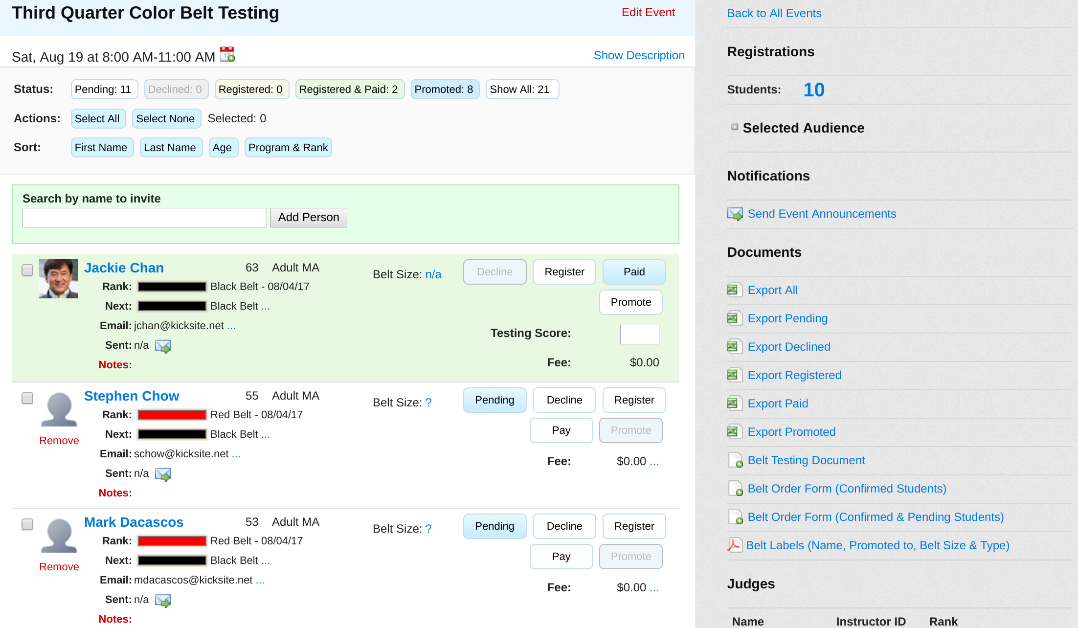 events kicksite helpdesk