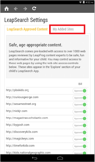 How do I add more sites to the LeapSearch browser on the