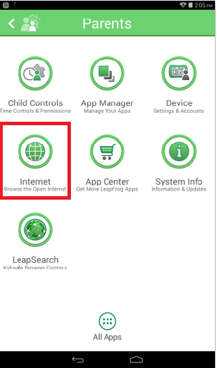 How do I enable the open web browser on the LeapFrog Epic