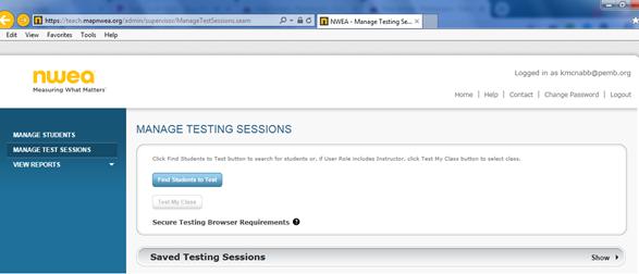 Setting up a MAP test session - Pemberton - Ticket Portal