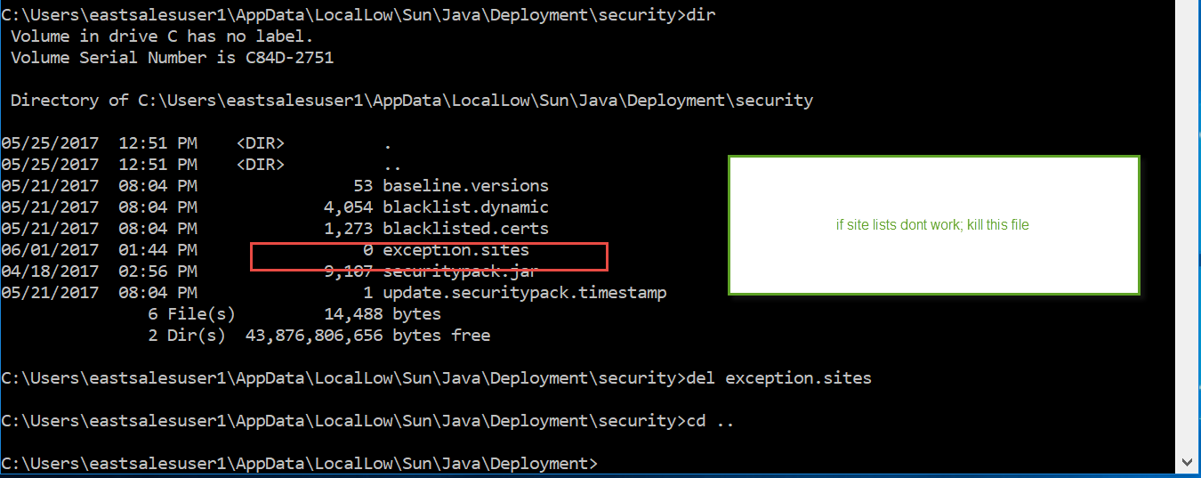 46: Java: Java Site List Exceptions just stopped working