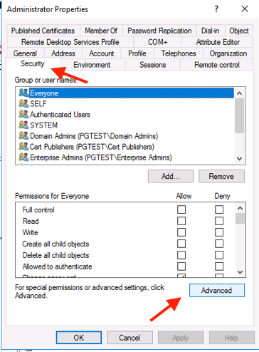 AD Security Advanced Button
