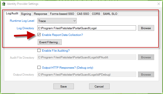 Enable SSO Reporting - PortalGuard