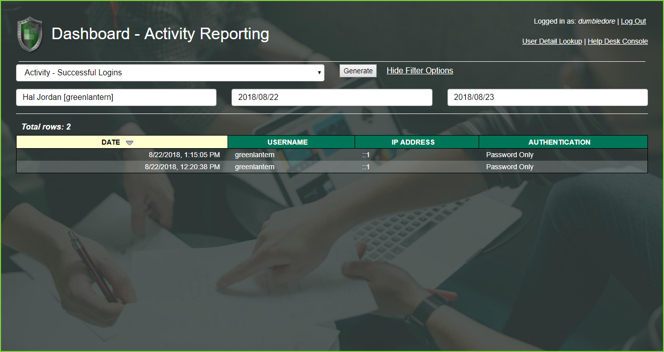 PortalGuard Activity Reporting - Successful Login - Greenlantern
