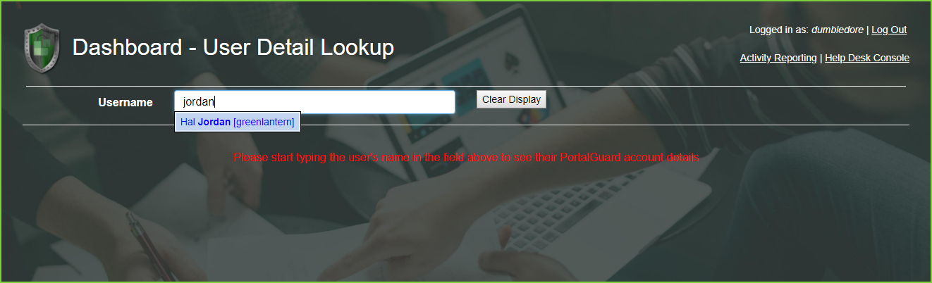 PortalGuard User Detail Lookup Search Result