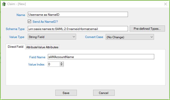 PortalGuard SAML - Example RP Claim