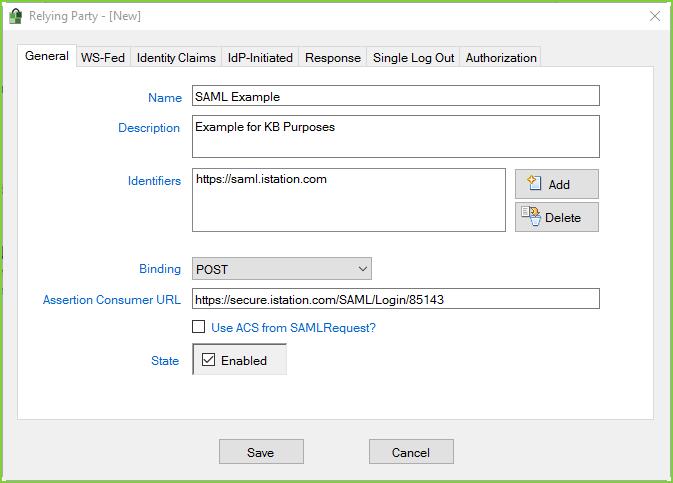 PortalGuard SAML - Example RP General