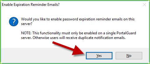 PortalGuard Config - Initial Setup: Email Reminders Prompt