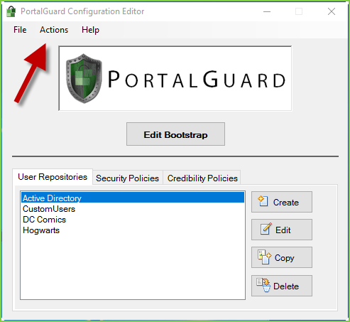 PortalGuard Config - Actions Menu