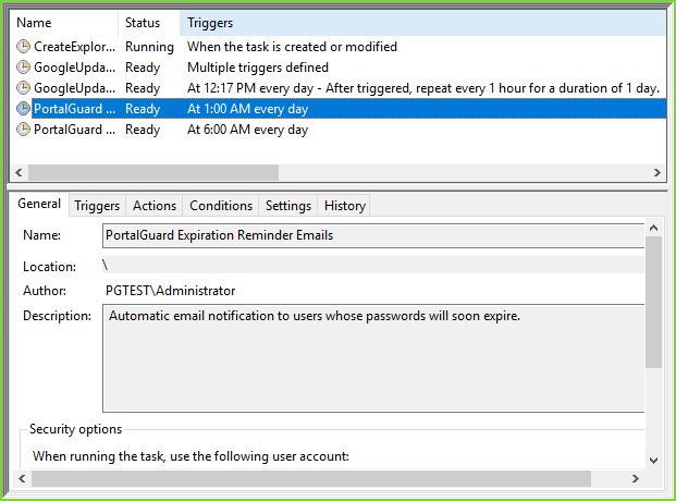 PortalGuard Email Reminders - Task Scheduler