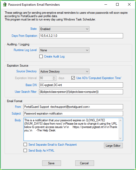 PortalGuard Email Reminders - Settings