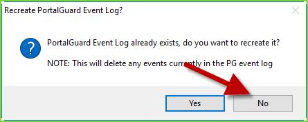 PortalGuard Config - Initial Setup: Logs Prompt