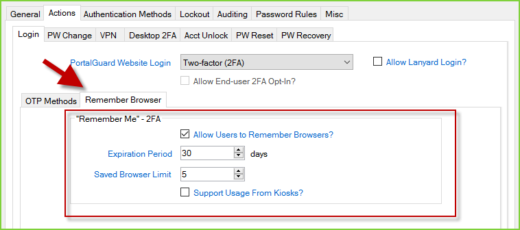PortalGuard Security Policy - Remember Me 2FA