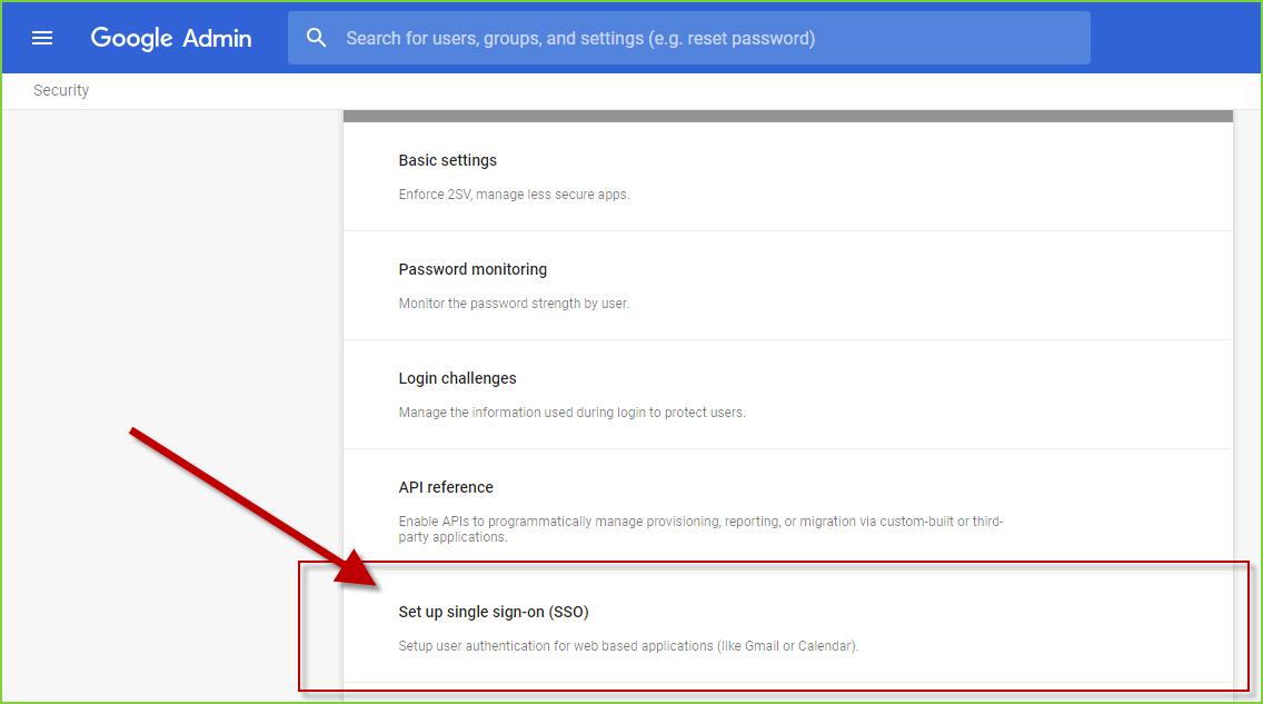 PortalGuard SSO - Google Apps - Admin Page SSO Link