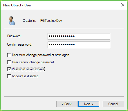 AD - Create PGService Pword
