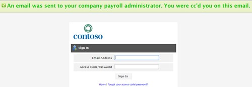 Email sent to payroll admin