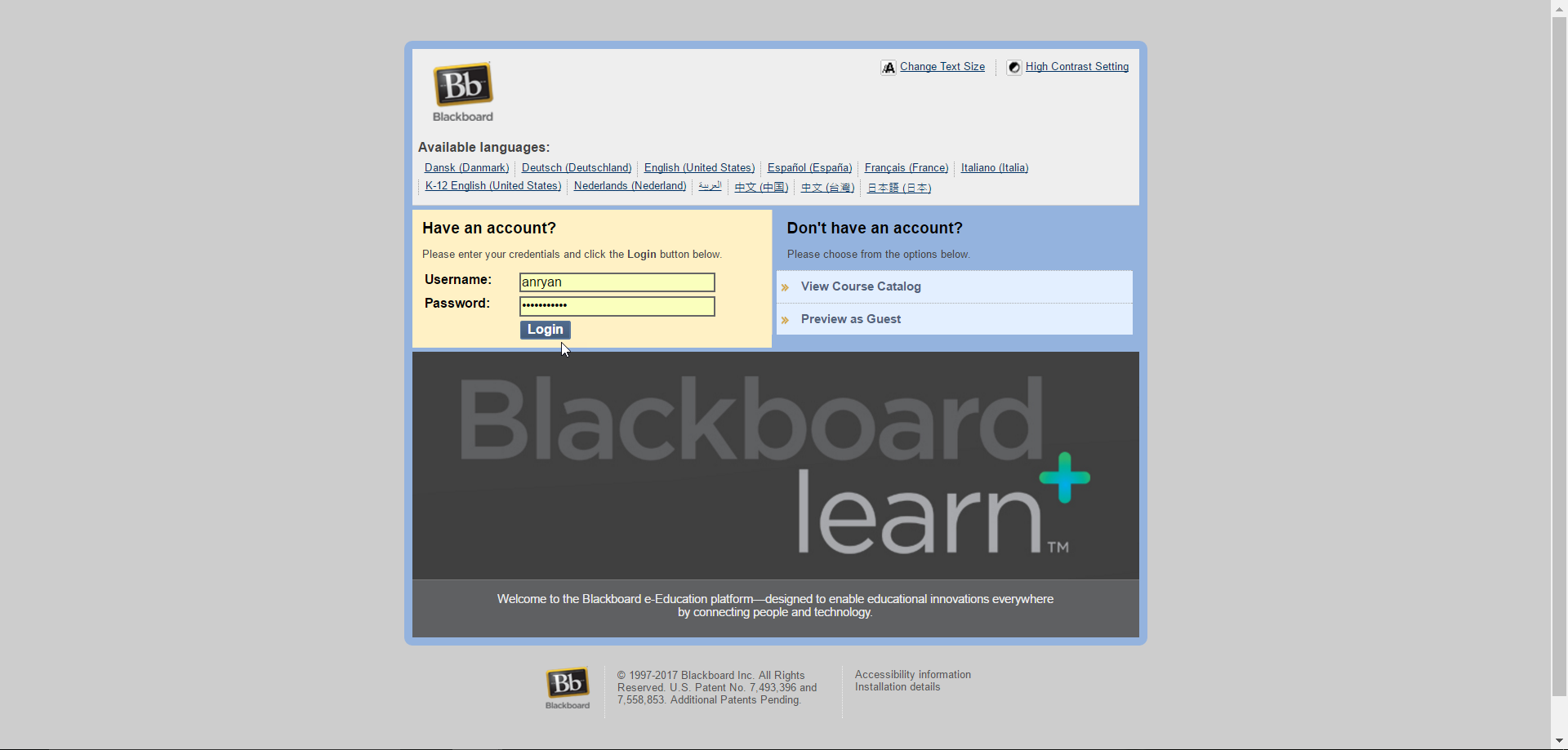 Blackboard.smcm.edu homepage
