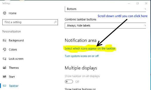 scroll down settings