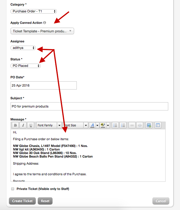 New ticket template: Use canned actions to create new ticket ...