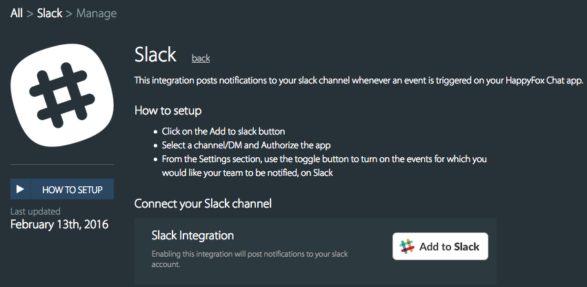 Enable integration with Slack - HappyFox Chat
