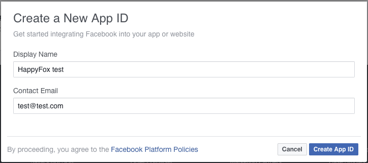 Setting up an app on Facebook - to enable Facebook option
