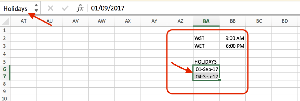 the holiday list and create a range named holidays without the double quotes now the excel sheet will look something like the screenshot shown below