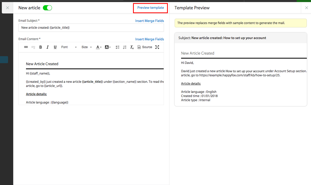 Edit notification email templates - HappyFox Support