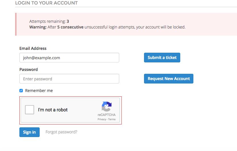 Account Lockout on multiple invalid login attempts