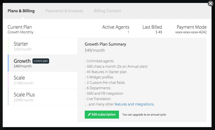 Billing Section - HappyFox Chat