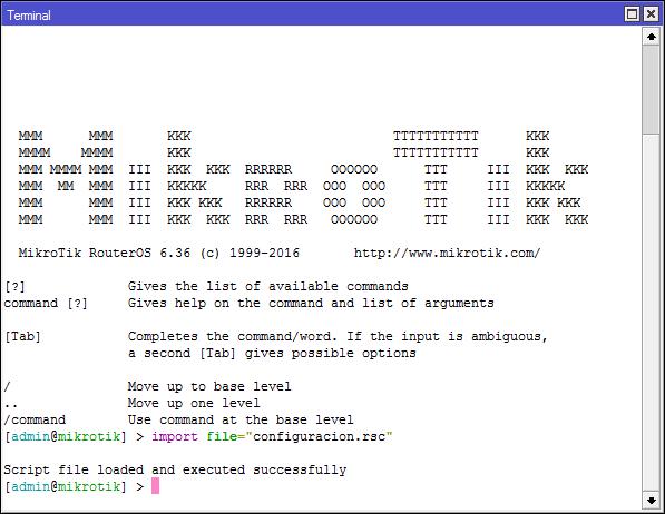 MikroTik – Generar y Cargar Script de la configuración