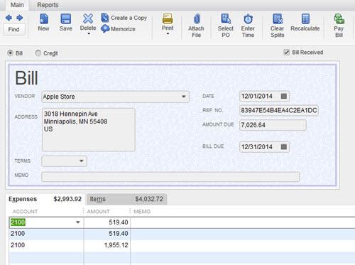 Concur Invoice (Bills) Import into QuickBooks Desktop or