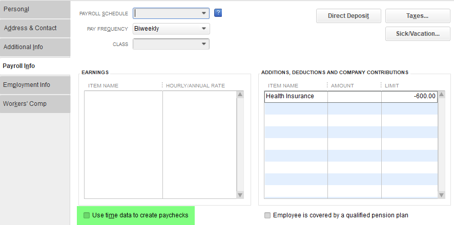 Import Time Tracking into QuickBooks Desktop - Transaction