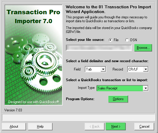Import Sales Receipts into QuickBooks Using Transaction Pro