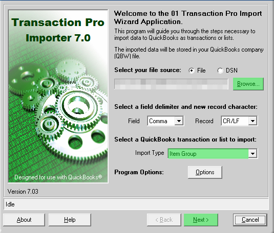 Importing Group Items into QuickBooks using Transaction Pro